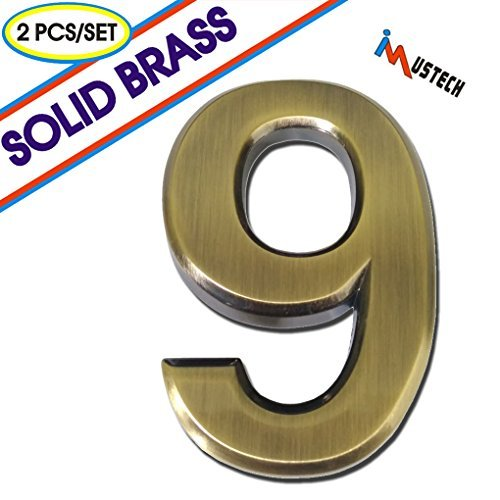 Imustech Mailbox Numbers 2 Pcs Set Solid Self Stick Number 9 For