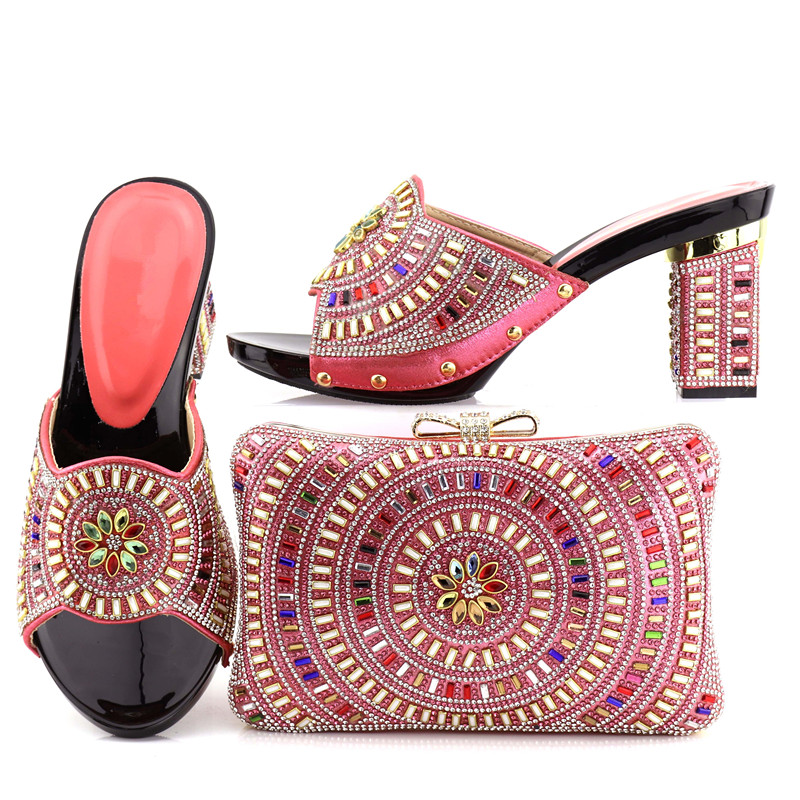 Guangzhou bag set matching women and italian coral shoes fashion Aw7qA1r
