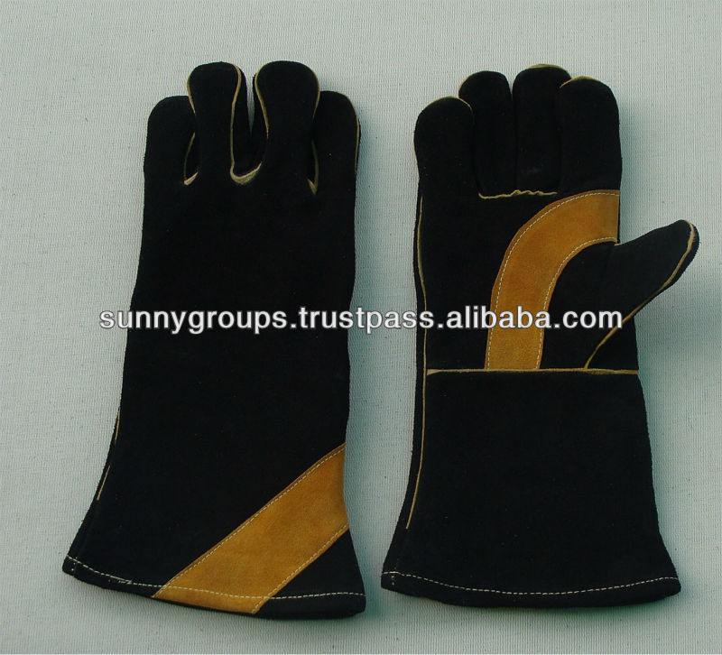 heavy duty black leather welding gloves with reinforced palm