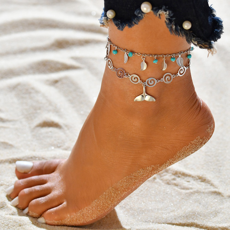 Tassel Foot Chain Barefoot Beach Jewelry Boho Silver Anklets Leaf Animal Pendant Double Layer Turtle Anklet sFor Women