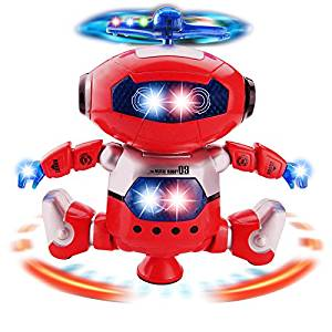 Lanlan 1PCS Creative Electric Toy 360 Degree Spin Dancing with Music Flashing Lights Outside Toys Kids Funny Toy Figure Red