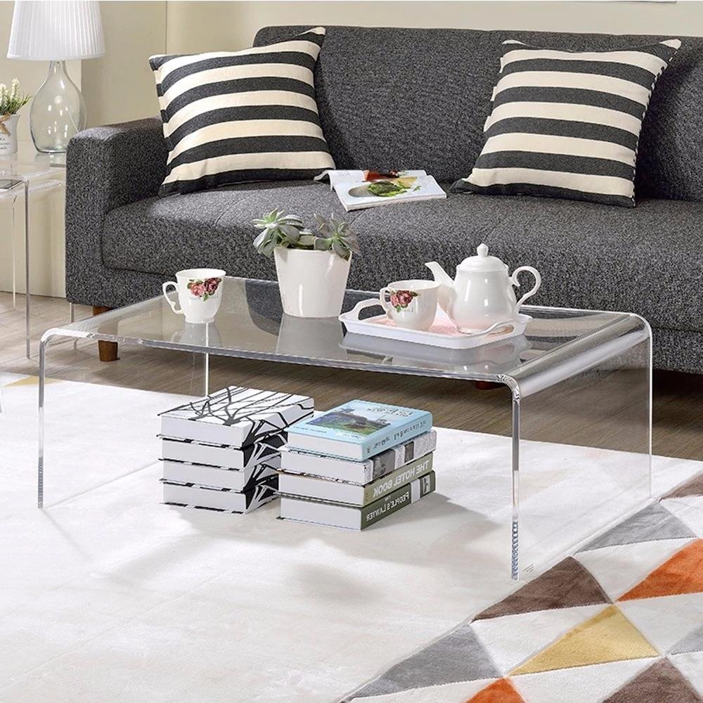 Get Quotations · U Shape Clear Acrylic Coffee Table Indoor Or Outdoor Use  Includes Custom Mouse Pad