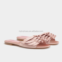 Embroidery shoe fabric flat ladies bridal sandals