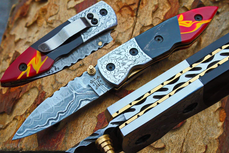 "Damascus 3.0"" Folding knife w/Steel Engraved Bolsters, Clip,File-Work,Liner Lock, Buffalo horn, Kirinite & Sheath cover UDK-D-C-F-79"
