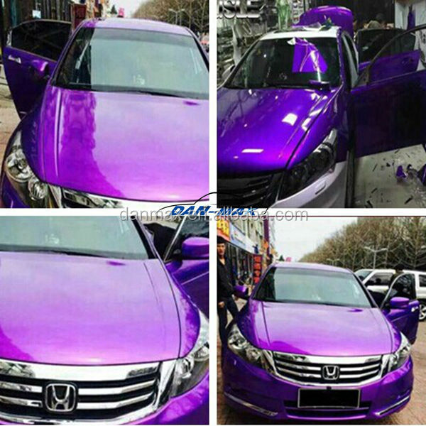 High Glossy Self Adhesive Chrome Metallic Purple Car Wrap Vinyl With