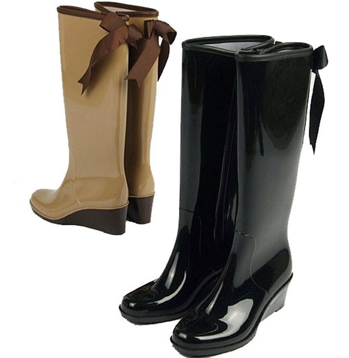 28a91527586f Get Quotations · Wedge Heel Rain boots Knee Boots Pvc Rain Boots For Women