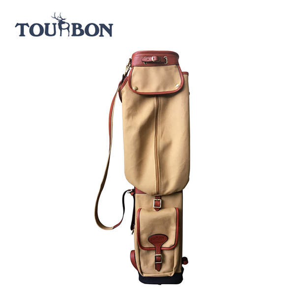 Tourbon Outdoor Bag Guangzhou Manufacturer Holding 6 pcs Golf Stick Canvas and Genuine Leather Golf Bag