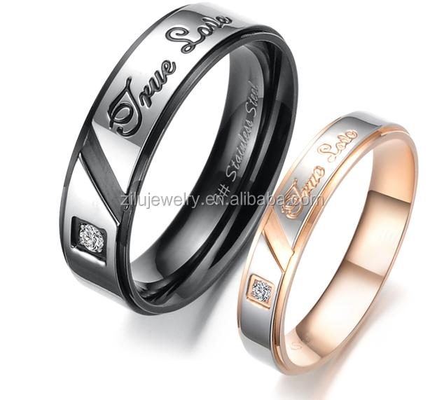 Amour Véritable Son ou le sien Mariage Bande Bague Promesse Couple Matching Coeur Anneau