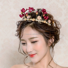 Online Hair Accessories Elegant Pageant Beauty Queen Fabric Flower Crowns 579HC