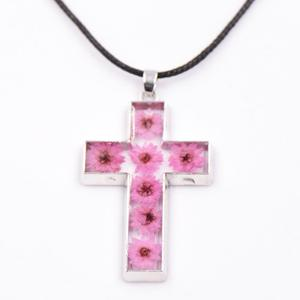 boho jewelry Christian jewelry women men stainless steel resin pink Dried Dry Flower Pendant necklace