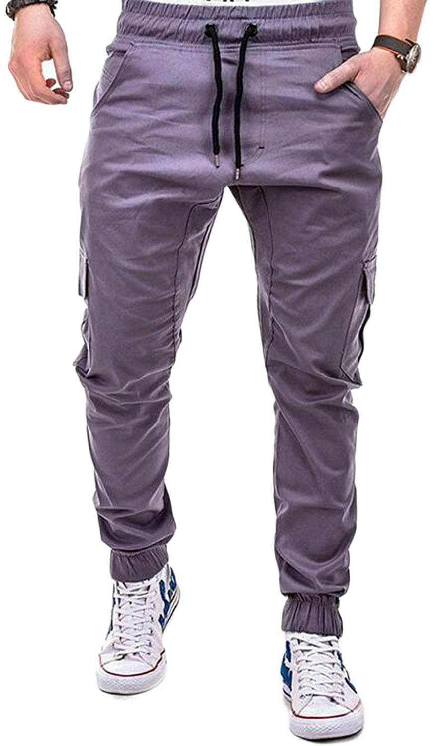 Fensajomon Mens Regular Fit Solid Color Elastic Waist Casual Jogger Pants Sweatpants Trousers