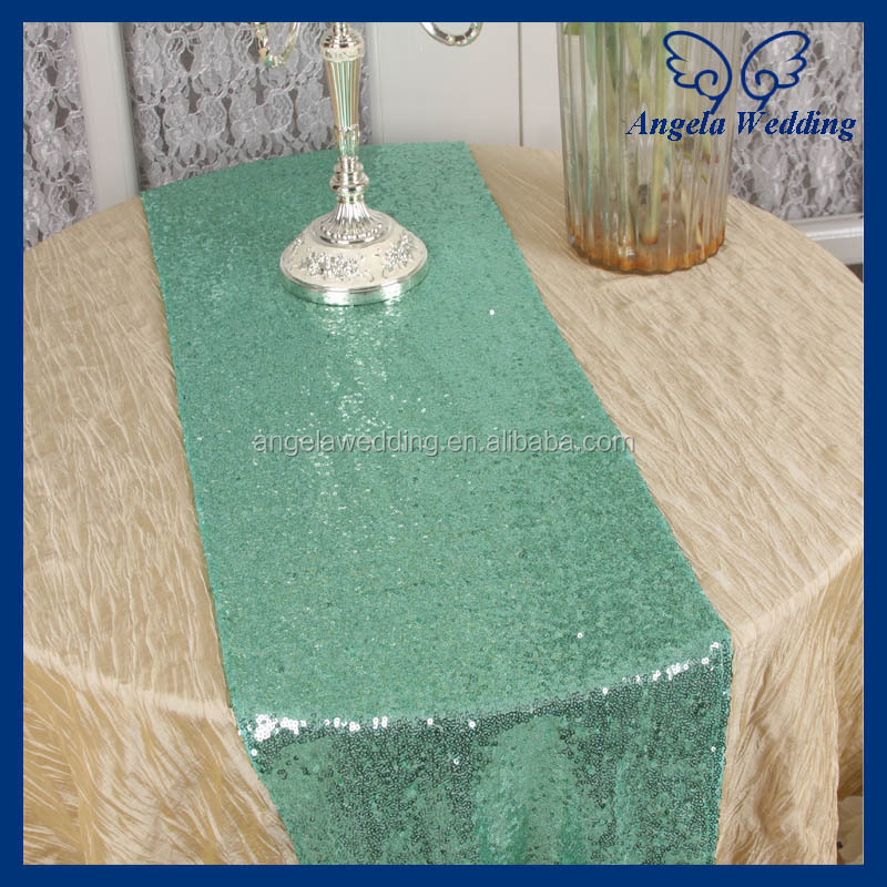 RU009B1 hot sale Angela weddding beaded hand embroidered silver sequin table runner