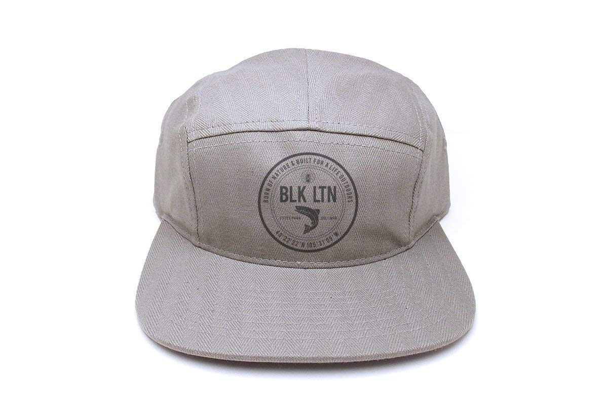 f6c44470368 Get Quotations · Outdoorsman Hat - Classic Label - Men s Unisex 5 Panel  Strapback Hat - Herringbone Grey