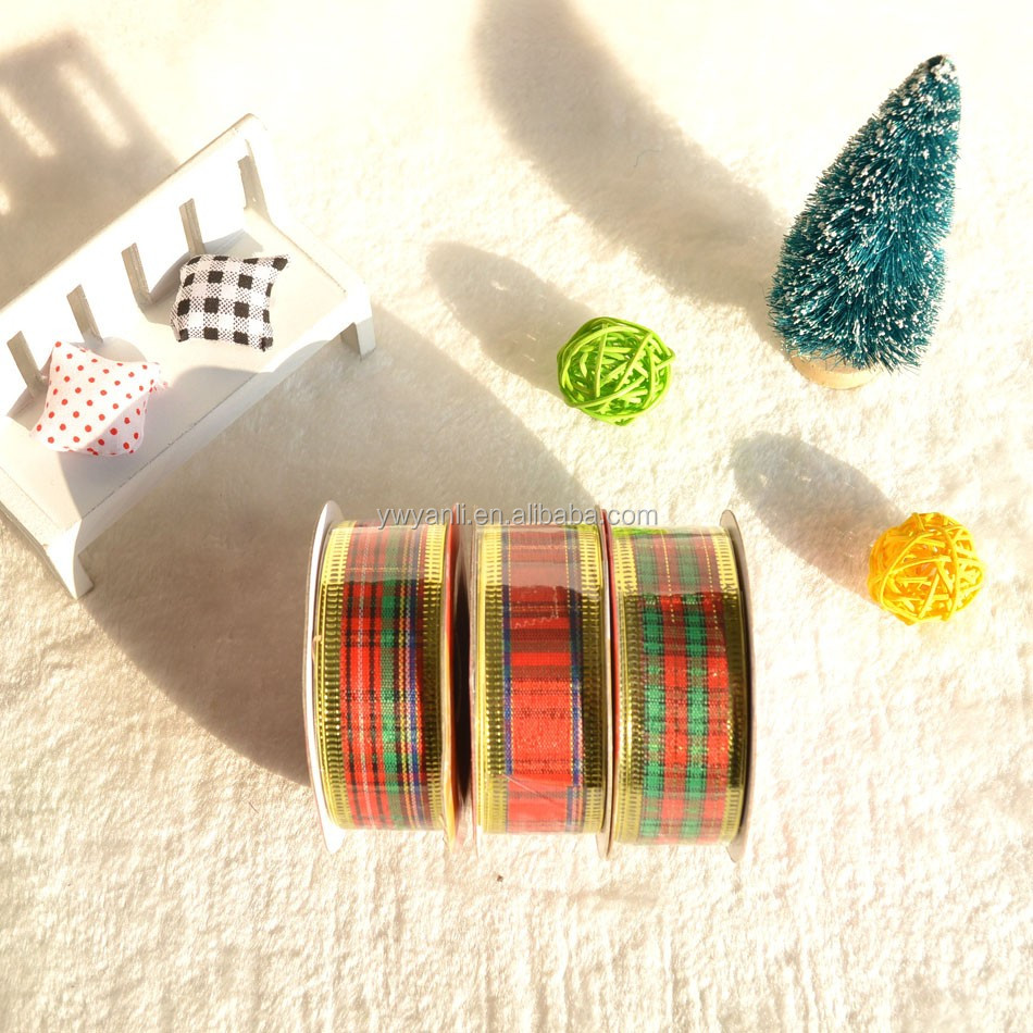 Manufacturer Wholesale Polyester Tartan Ribbon for Xmas Party Decoration