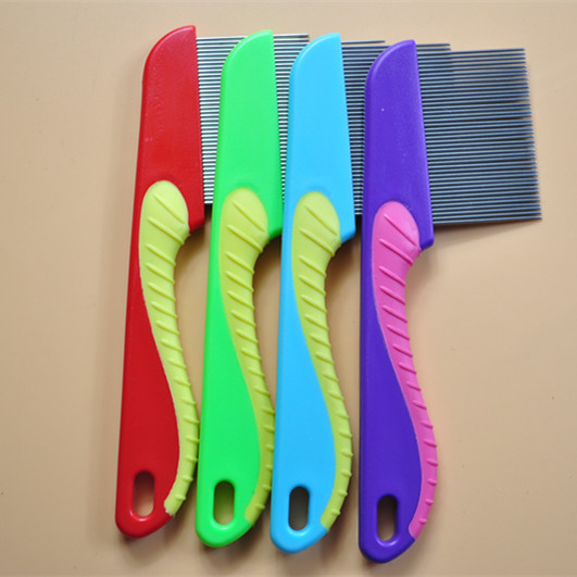 2019 manufacturer <strong>plastic</strong> handle stainless steel pet nit <strong>lice</strong> <strong>comb</strong>
