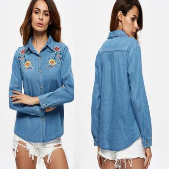 2017 nuevo estilo de camisa de mezclilla mujeres con bordado de flores en  la parte delantera 2a36c75ffa8f8