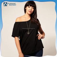 OEM Blank black Plus size large off shoulder shirt for women