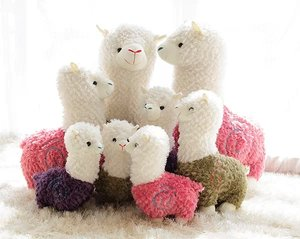 Soft plush lovely colorful alpaca sheep stuffed animal shape toys