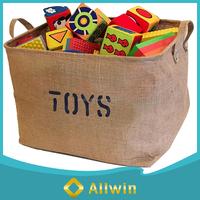 Wholesale custom large eco-friendly jute toy storage basket with handle