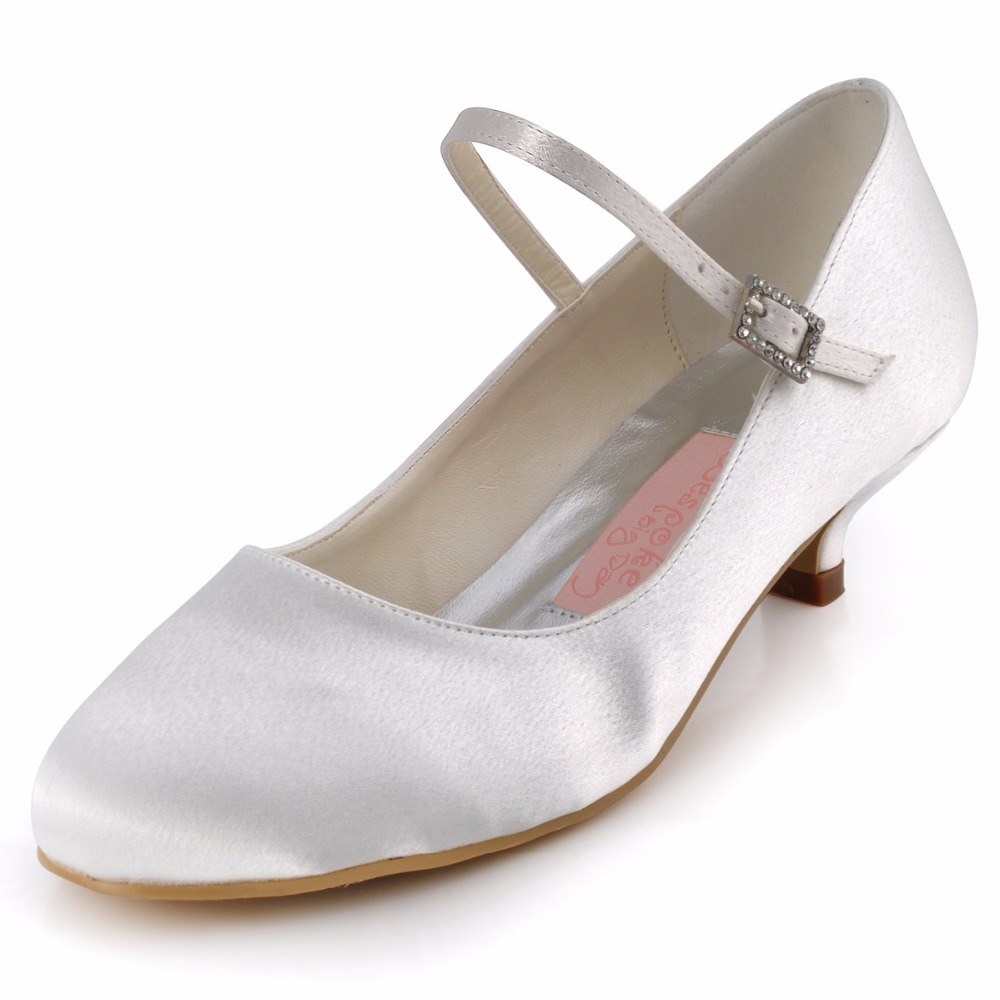 WM 003 White Ivory Round Toe Elegant Low Heel Satin Flats