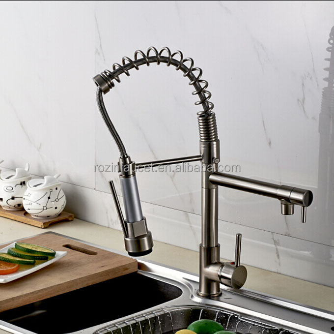 LED Color Changing Double Spout Kitchen Faucet Taps Brushed Nickel Spring Pull Down Kitchen Mixer Taps