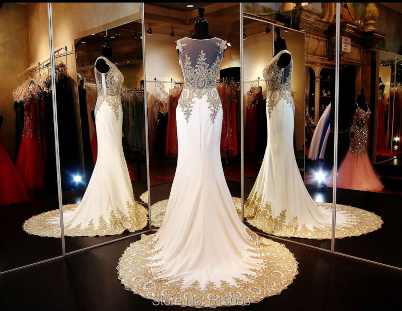 Ivory Wedding Gowns: Real Sample Gold Embroidery Beaded Long Chiffon Ivory