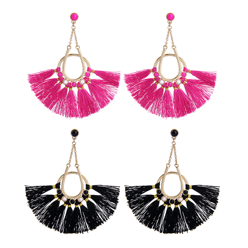 Wholesale <strong>Fashionable</strong> Rose Red And Black Rope Tassel Earrings For Party