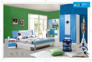 NBA design bedroom set for boys/Bed/bed side/bookcase/ study desk/ chair/  wardrobe, View Colorful kids bedroom set, Hulubao Product Details from ...