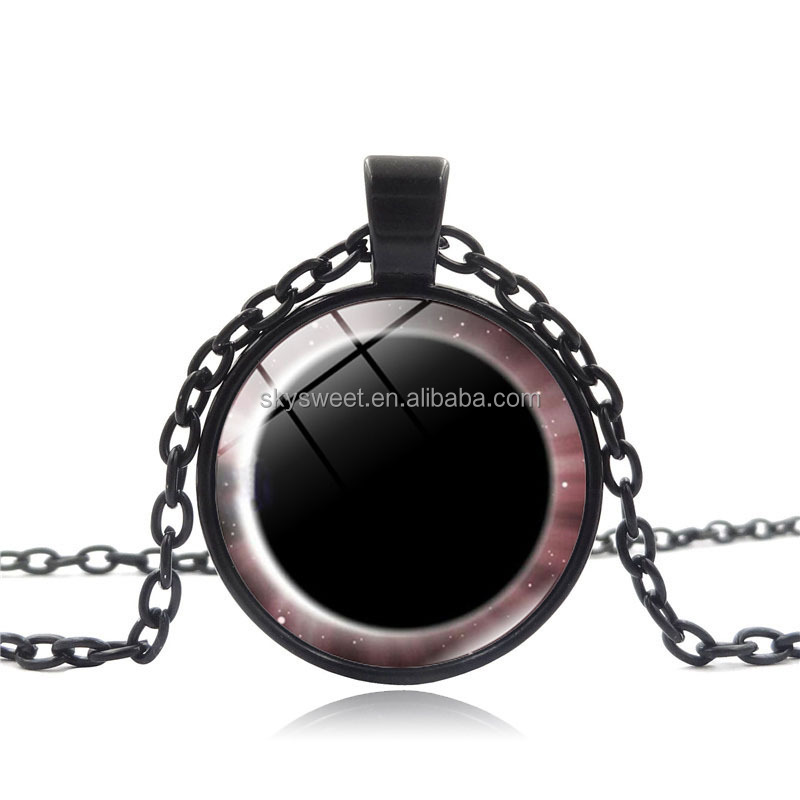 New style alloy Plate & Epoxy Domed moon and sun solar eclipse pendant