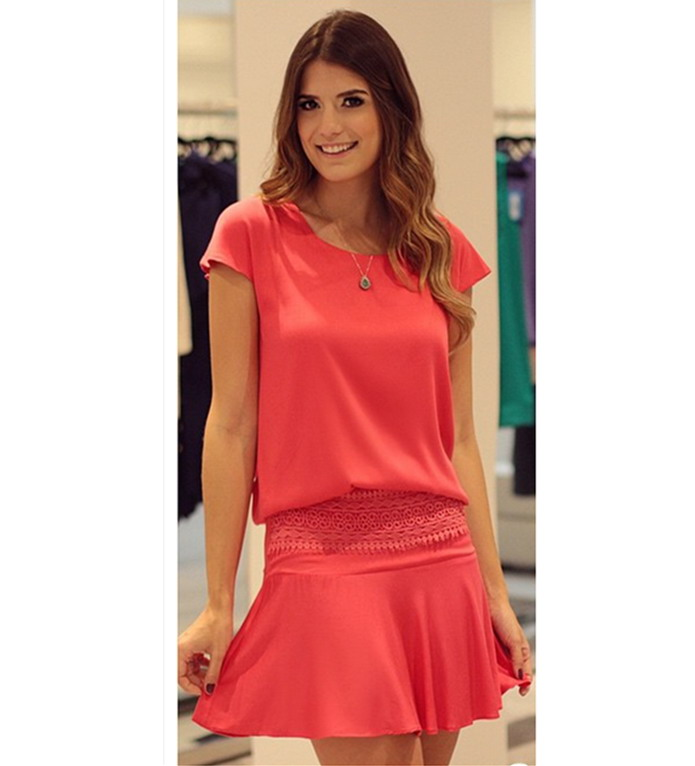 Get Quotations · New 2015 Women Summer Style short sleeve round neck red  Dress solid casual elegant mini Dress 912790185090