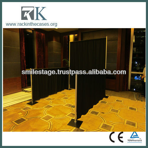 wooden trade show display booth with drapery