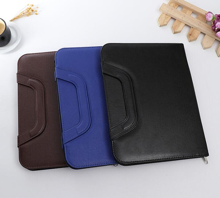 Shenzhen Custom Luxury Multifunction PU Leather Portfolio File Case Business Planner File Folder With Handle