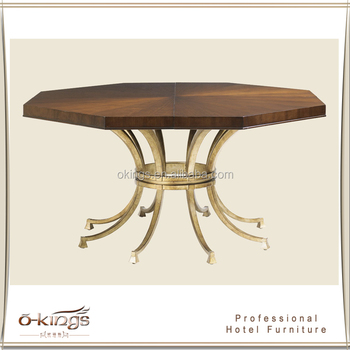 Octagon Wooden Top Metal Base Dining Table Designs - Buy ...