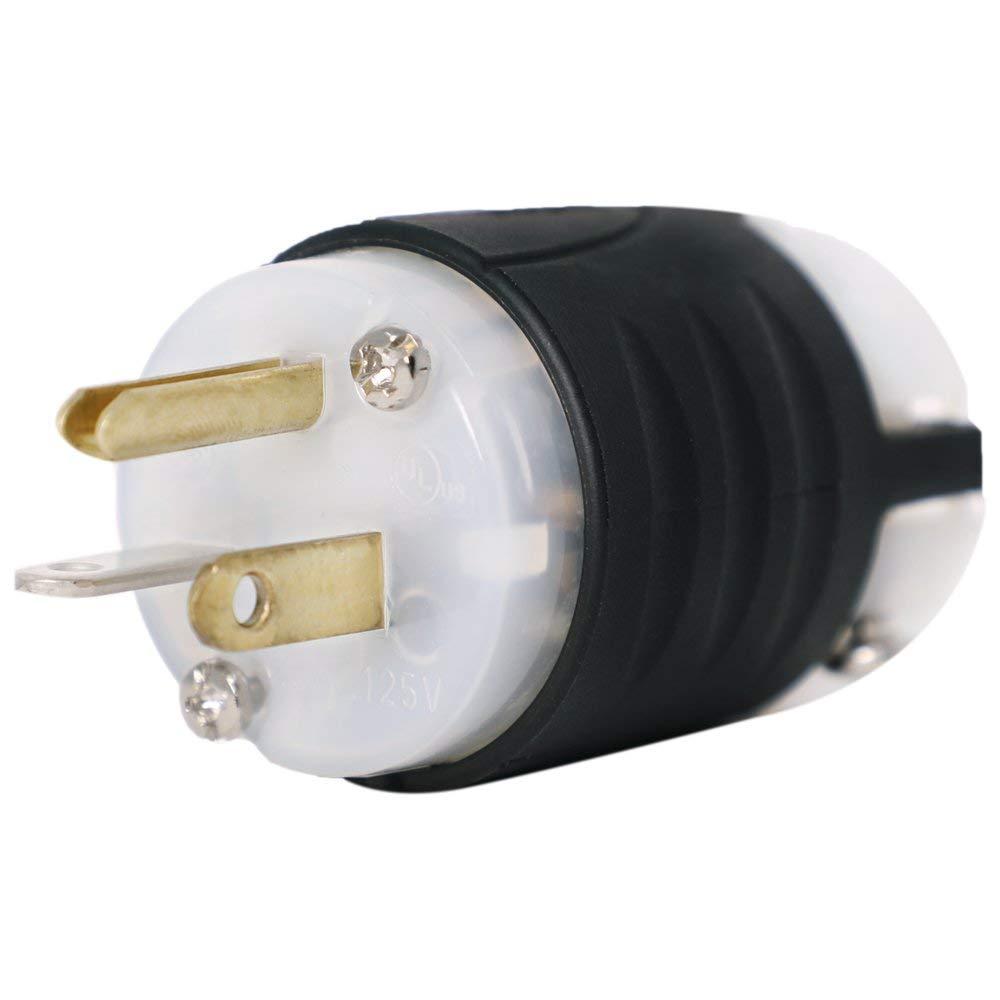 Cord Cap 15 Amp 120v Black Nylon Plug Repair 3 Wire 120v 20amp