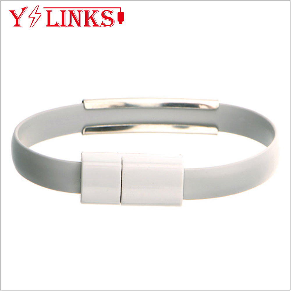 Fashion usb cable stylish bangle data connection line for iPhone with colorful cable