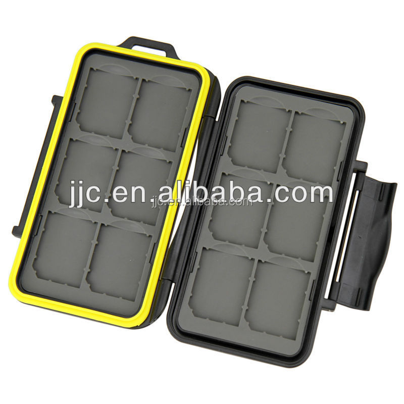 JJC MC-SD12 for 12 SD Cards Tough Structure Rubber Sealed Water Proof Memory Card Case Protector
