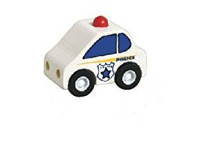 Mini Wooden Toy Police Car Made from Durable Wood for Boys and Girls