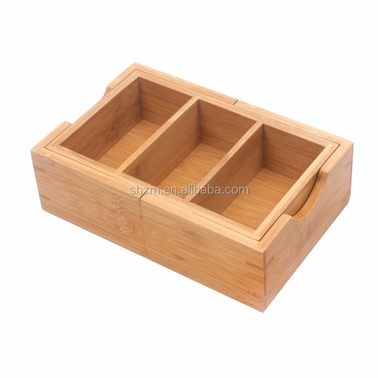 Natural Bamboo Expandable Serving Tray Wooden Desktop Paper ...