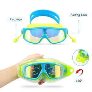 manufacturer sell kids plating swimming goggles Anti fog waterproof big fram swimming goggles