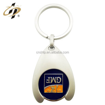 custom design Iron material two sizes trolley euro token key chain