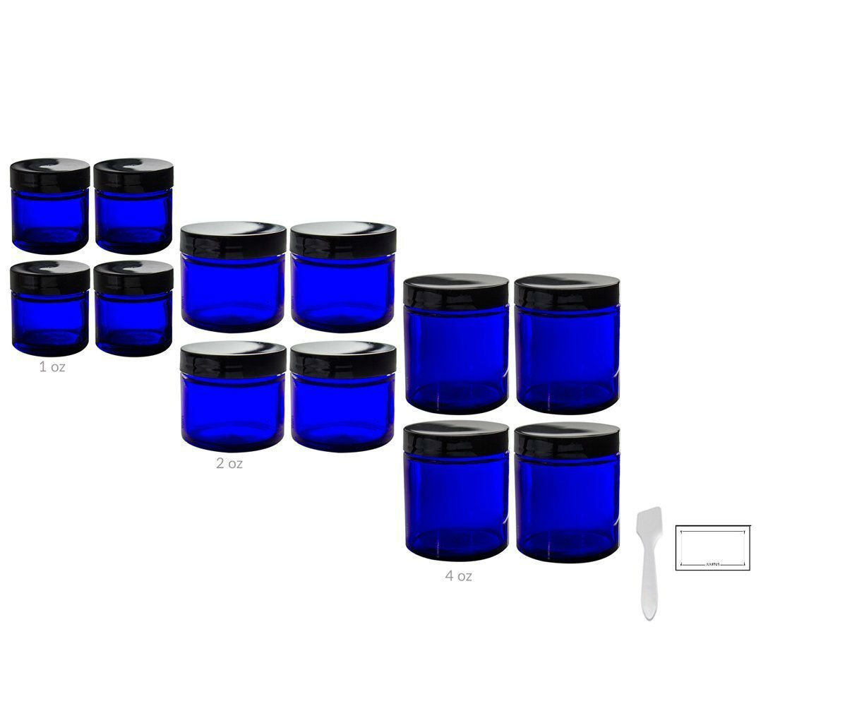 12 piece Cobalt Blue Glass Straight Sided Jar Starter Kit Set: Includes 4 -1 oz Cobalt Glass Jars, 4 -2 oz Cobalt Glass Jars, 4 -4 oz Cobalt Glass Jars + Spatulas and Labels