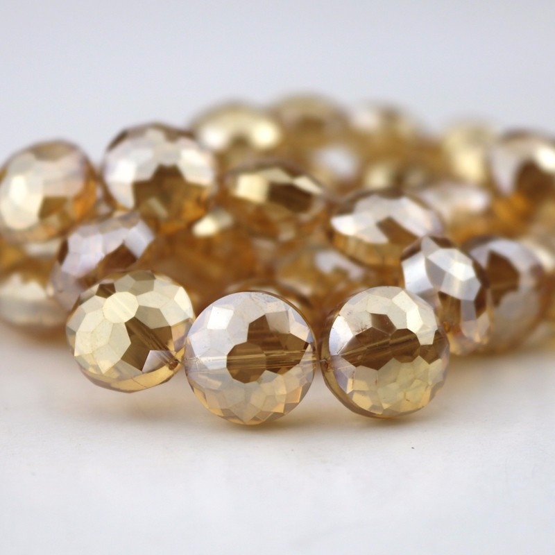 Charm Crystal Decoration Champagne Gold Plated Faceted Crystal Beads