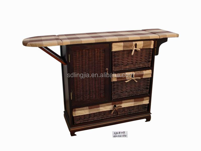 Brown Willow Wicker Drawers Wall Wooden Ironing Board/Ironing Cabinet