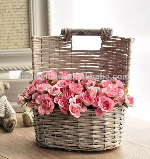 New Handmade Grey Wicker Decorative Hanging Flower Baskets For Wedding  QE65