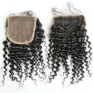 "MsFenda Hair Top Quality 100% Raw Virgin Hair; A+ Brazilian Human Kinky Curly Hair 1 Pcs Lace Closure (4*4) ;35g 8"";10"";12"";14"";16"";18"" Closure; Natural Black 1b"