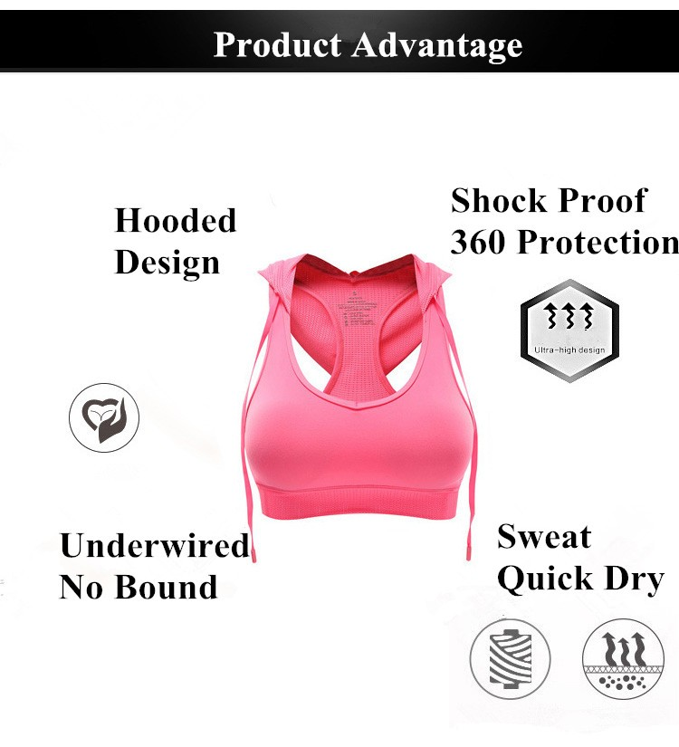 New Women Hooded Sports Bra Professional Shock proof Wireless Fitness and Yoga Bra