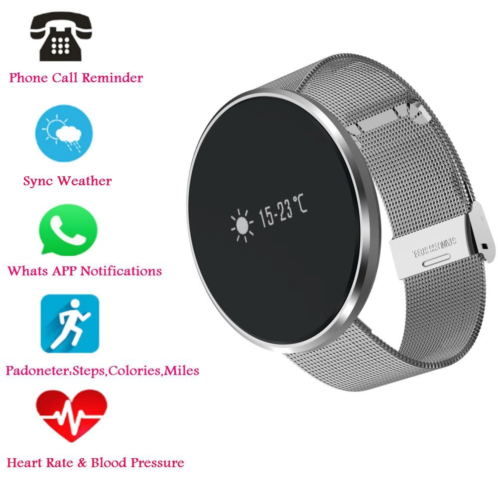 Hangang Bluetooth Smart Bracelet, Heart Rate / Blood Pressure / Blood Oxygen Monitoring ,Waterproof Smart Watch , Fitness Tracker Pedometer Waterproof Watch for Android and iOS (silvery-Steel strip)