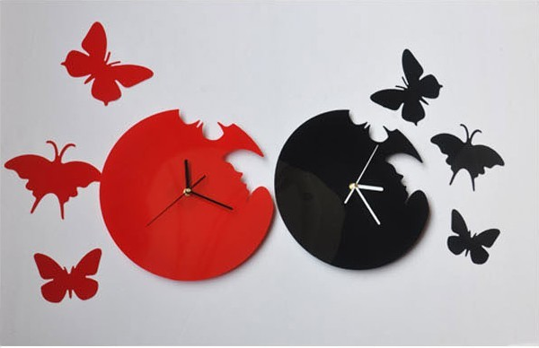 Novelty Black Red Acrylic Butterfly Wall Clock 3D DIY
