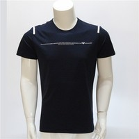 t shirt man navy blue round neck decoration with hem and silicone oem