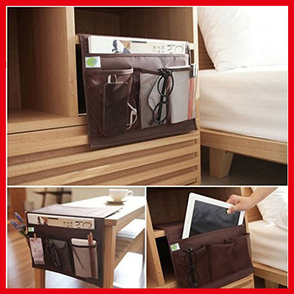4 Pocket Brown Bedside Storage Organizer Caddy Sofa Storage Organizer